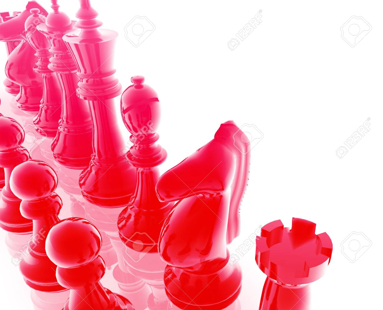 Chess set pieces illustration, glossy chrome metal style Stock Illustration - 4943546