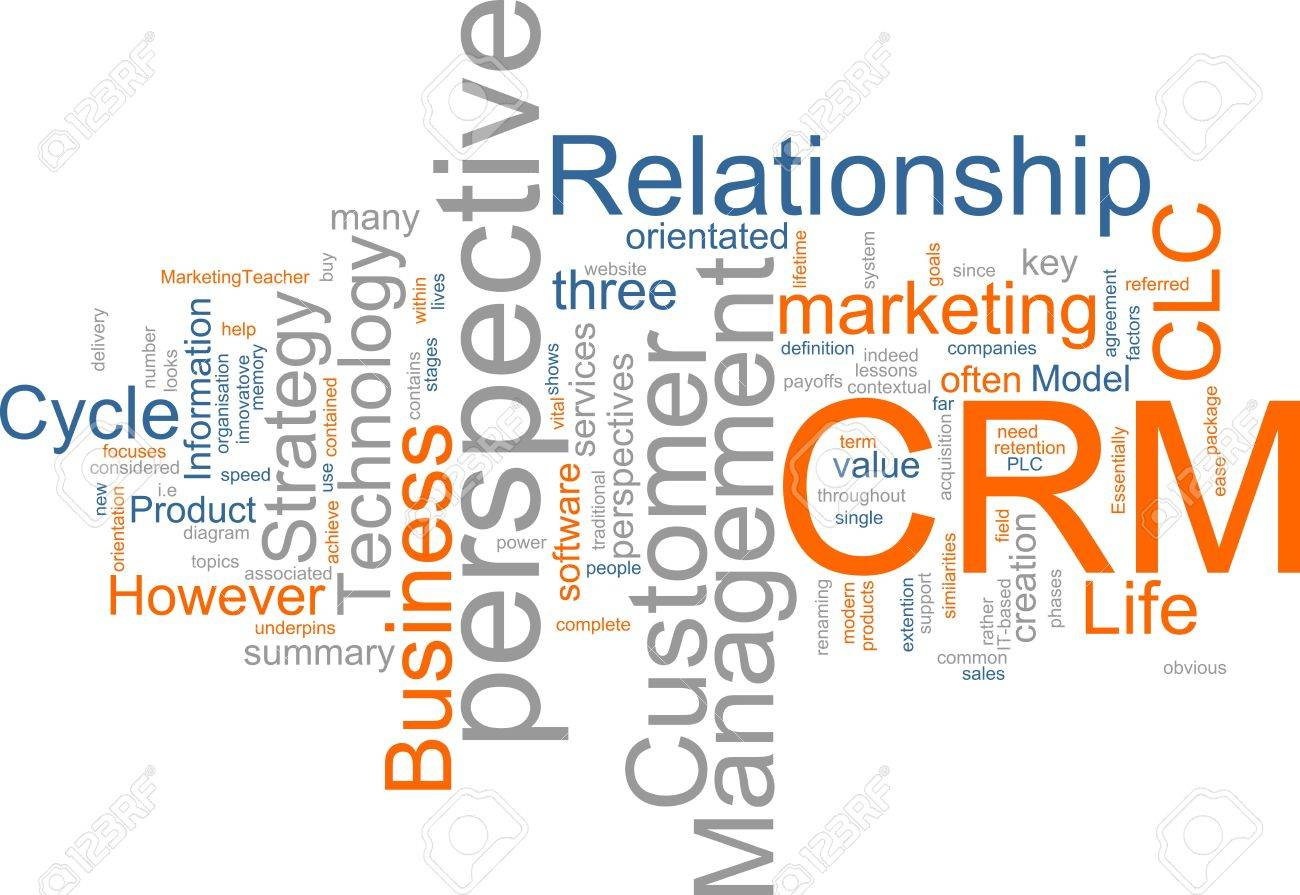 Word cloud concept illustration of CRM Customer Relationship Management Stock Photo - 5092394