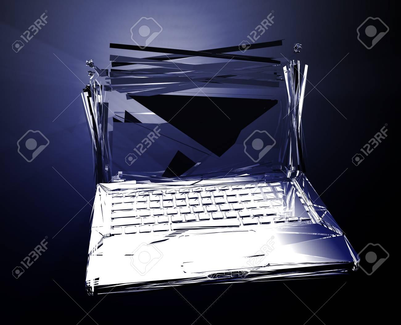 Computer technology failure with broken notebook concept illustration Stock Illustration - 5092727