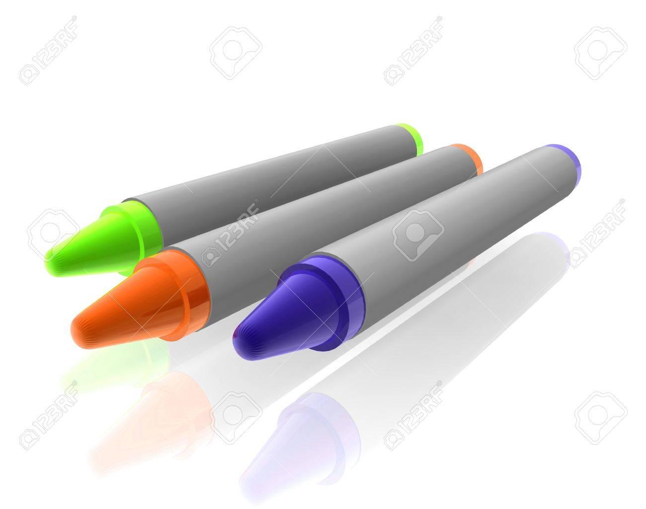 Crayones De Colores Para Colorear Materiales Ilustración, Cromo ...