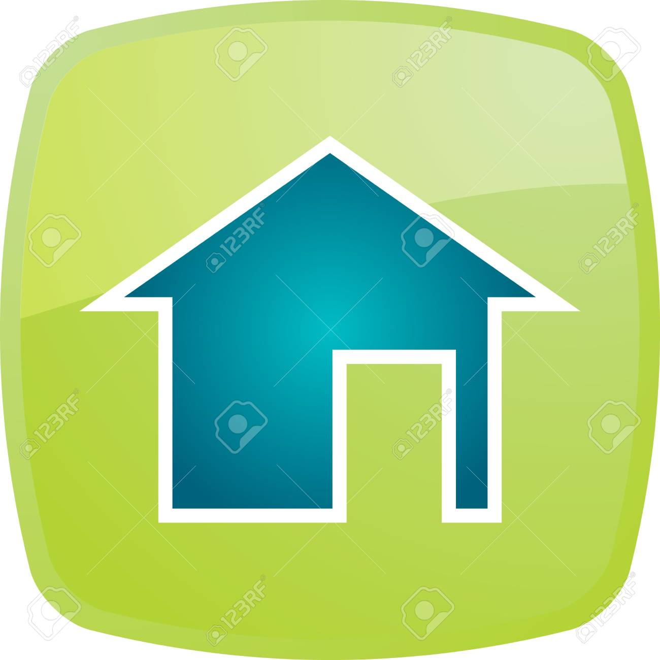 Home navigation icon glossy button, square shape Stock Photo - 5158223