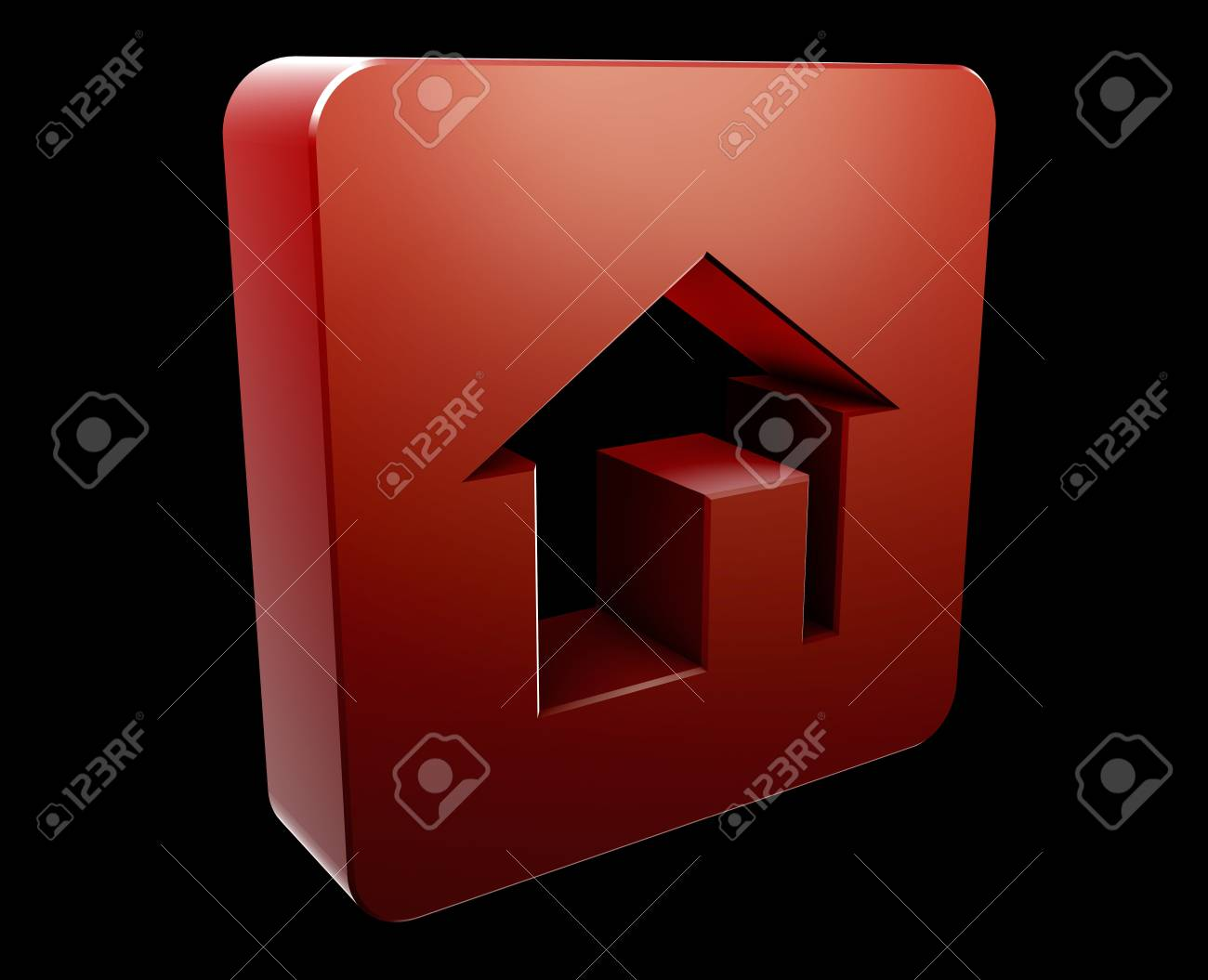 Home navigation icon glossy button, square shape Stock Photo - 5383523