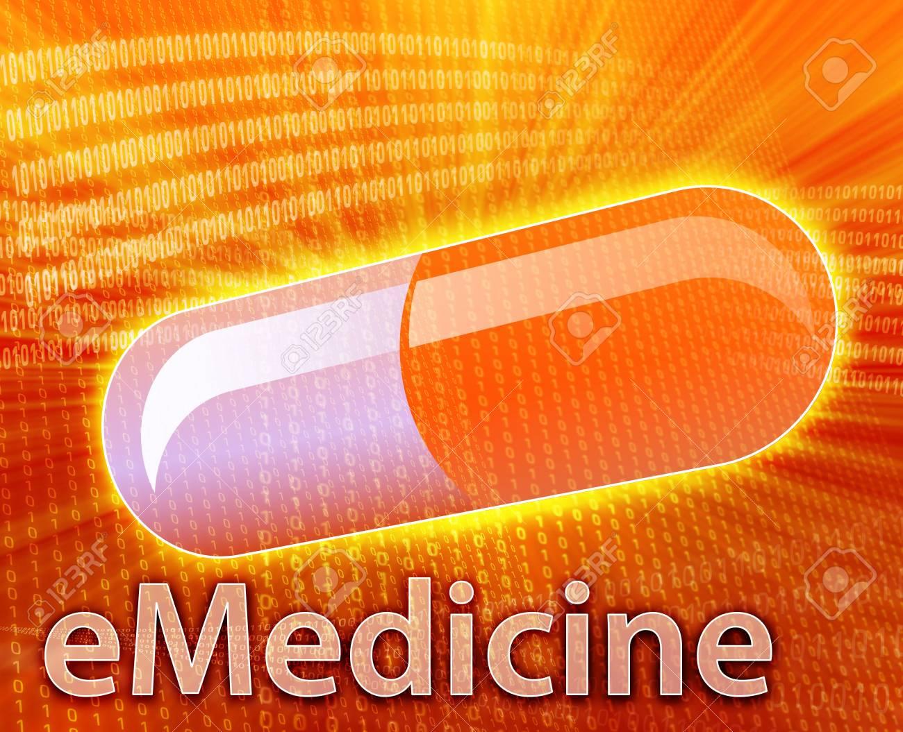 E-medicine, Online medicine, ecommerce health pharmacy illustration Stock Photo - 5648191