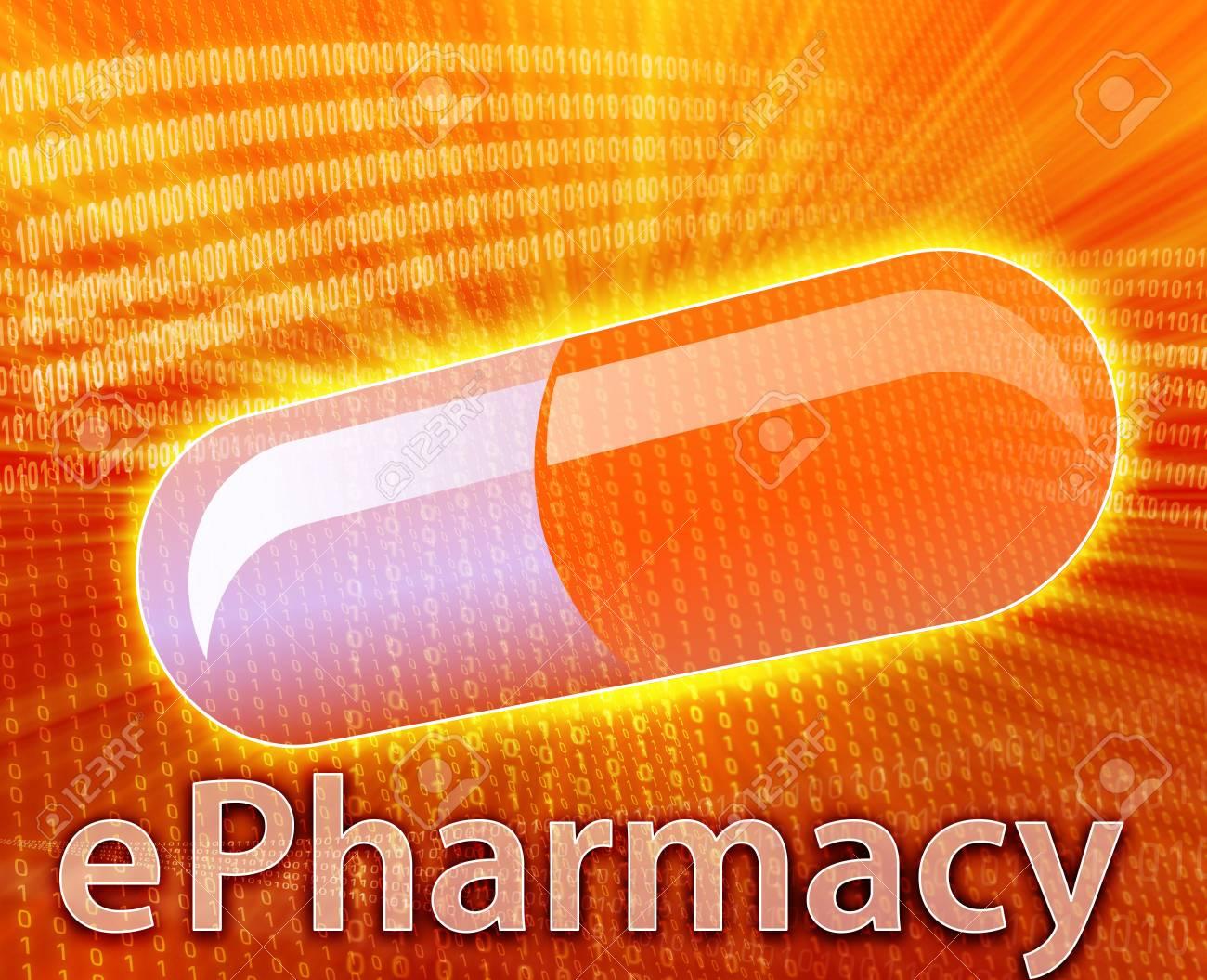 E-medicine, Online medicine, ecommerce health pharmacy illustration Stock Photo - 5648189