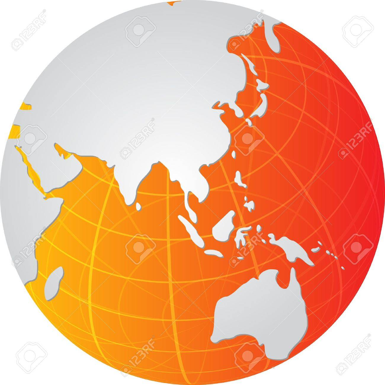 Map Of The Asia Pacific.Stock Illustration