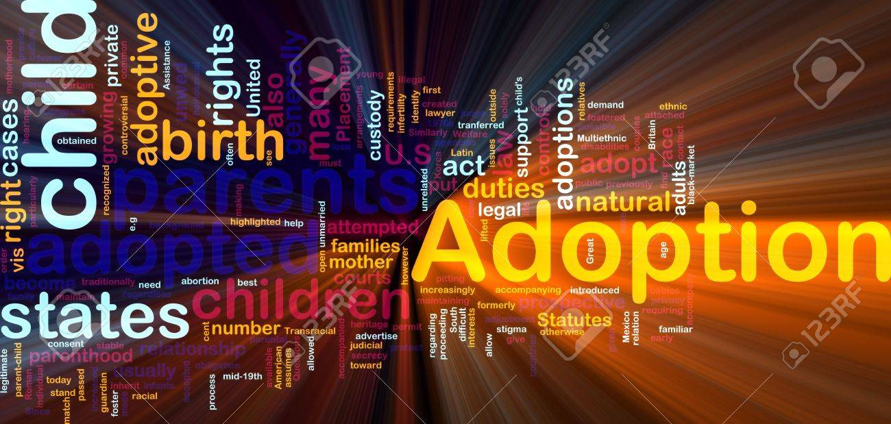 Word cloud concept illustration of  child adoption glowing light effect Stock Photo - 6164192