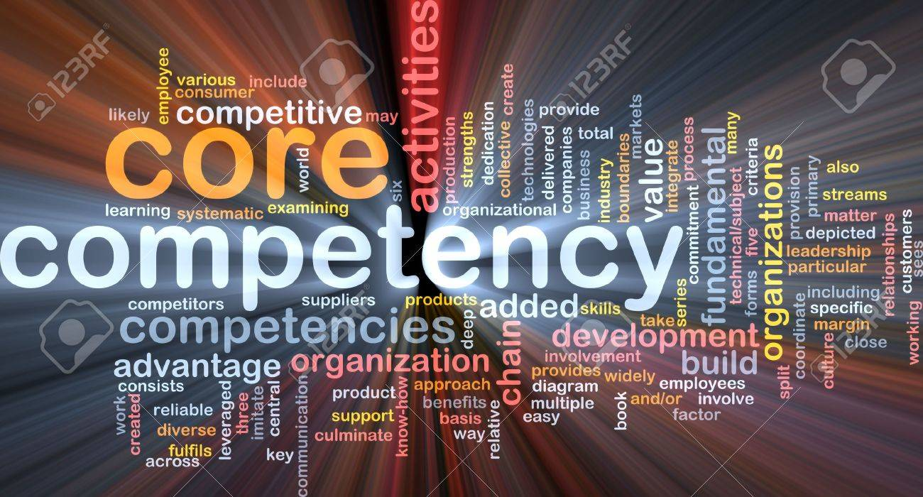 Word cloud concept illustration of core comptency glowing light effect Stock Photo - 6165599
