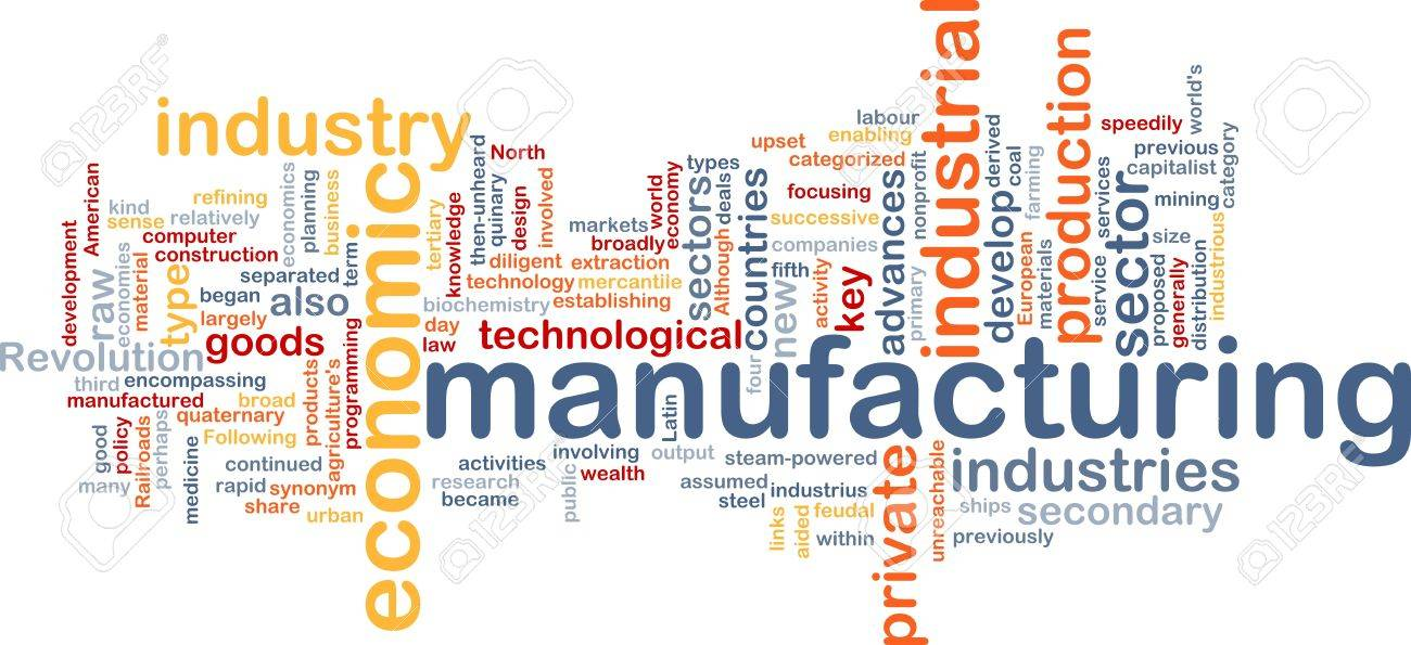 Word Cloud Concept Illustration Of Manufacturing Industry showing German business confidence dip due to raw material shortage