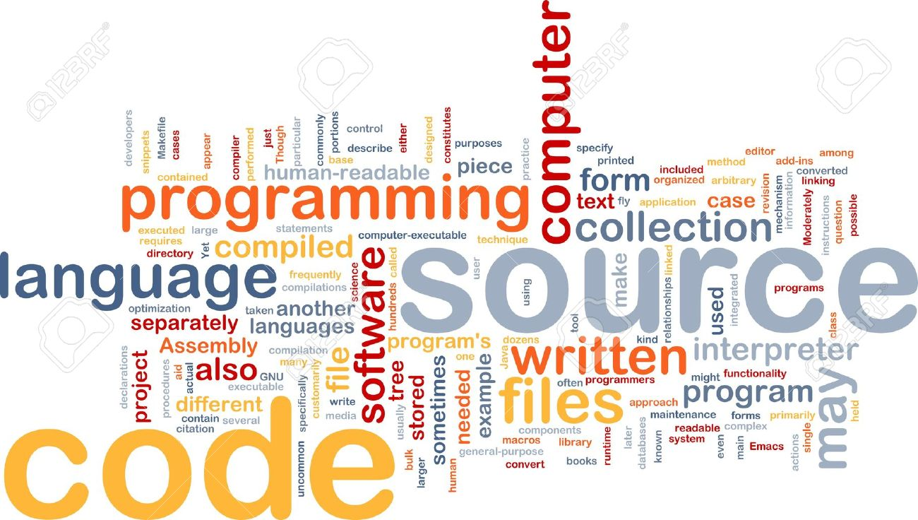 Background concept wordcloud illustration of source code programming Stock Illustration - 6279083