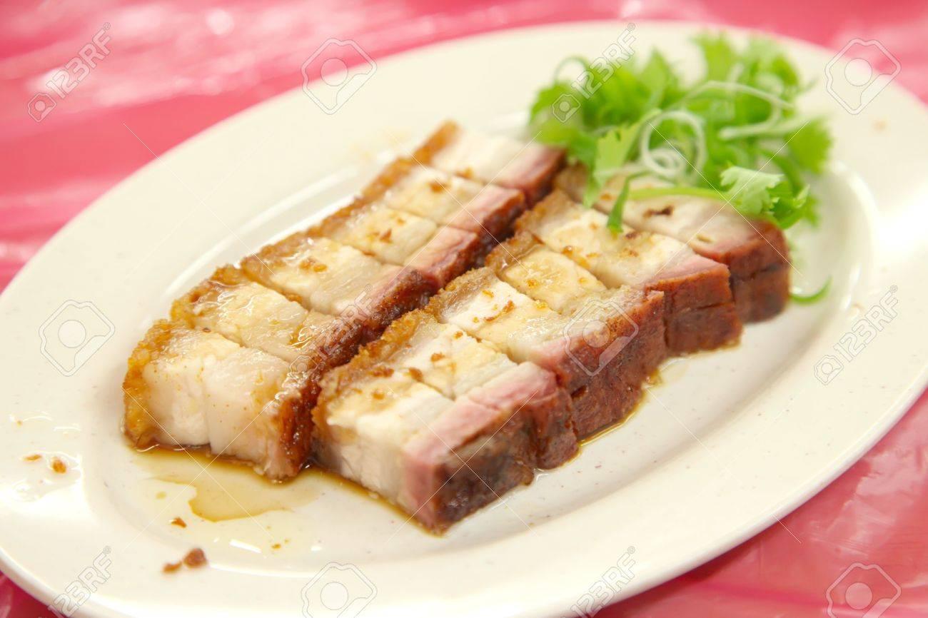 Sliced Chinese Boneless Roast Pork With Crispy Skin Stock Photo 6279546