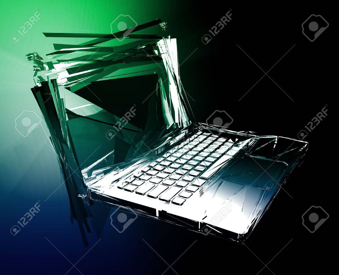 Computer technology failure with broken notebook concept illustration Stock Photo - 6301933