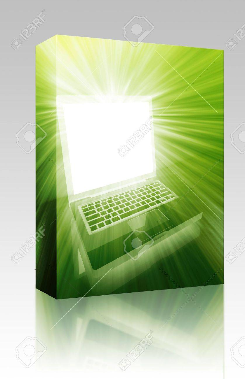 Software package box Notebook laptop computer illustration glowing bright modern technology Stock Photo - 6313771