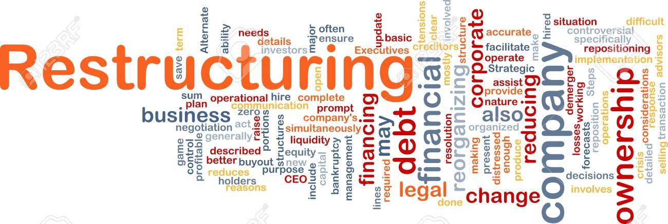 word cloud concept illustration of company restructuring stock