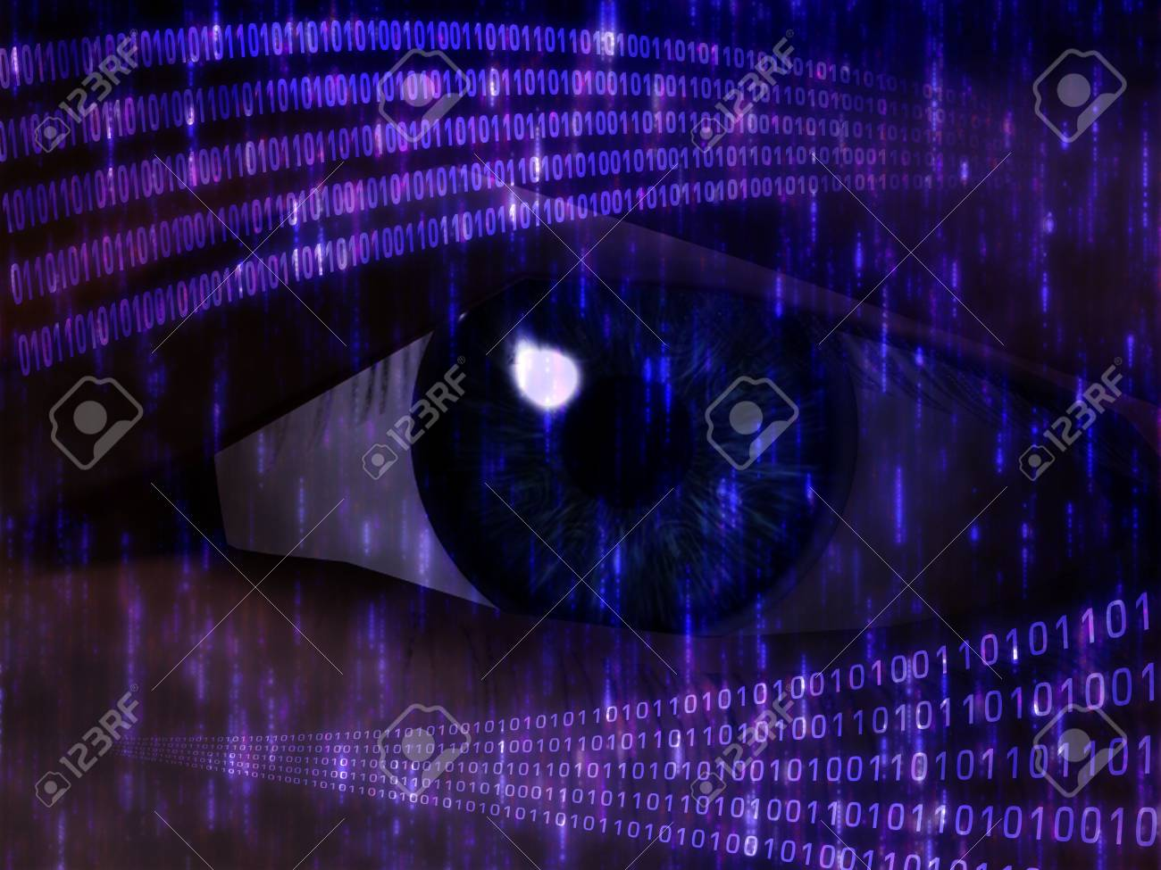 Eye viewing digital information represented by ones and zeros Stock Photo - 6365195