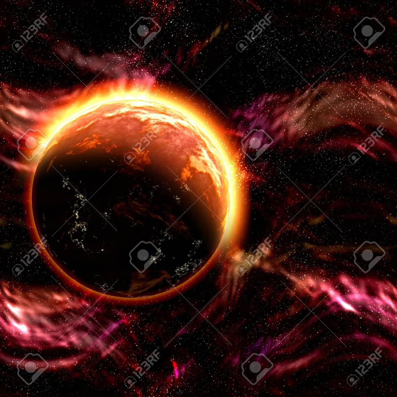 Science fiction cosmic planet complex space scene illustration Stock Photo - 6365398