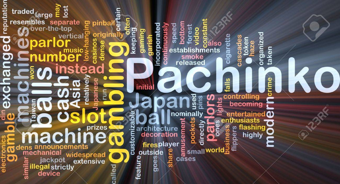Background concept wordcloud illustration of pachinko japanese gambling glowing light Stock Photo - 6365325