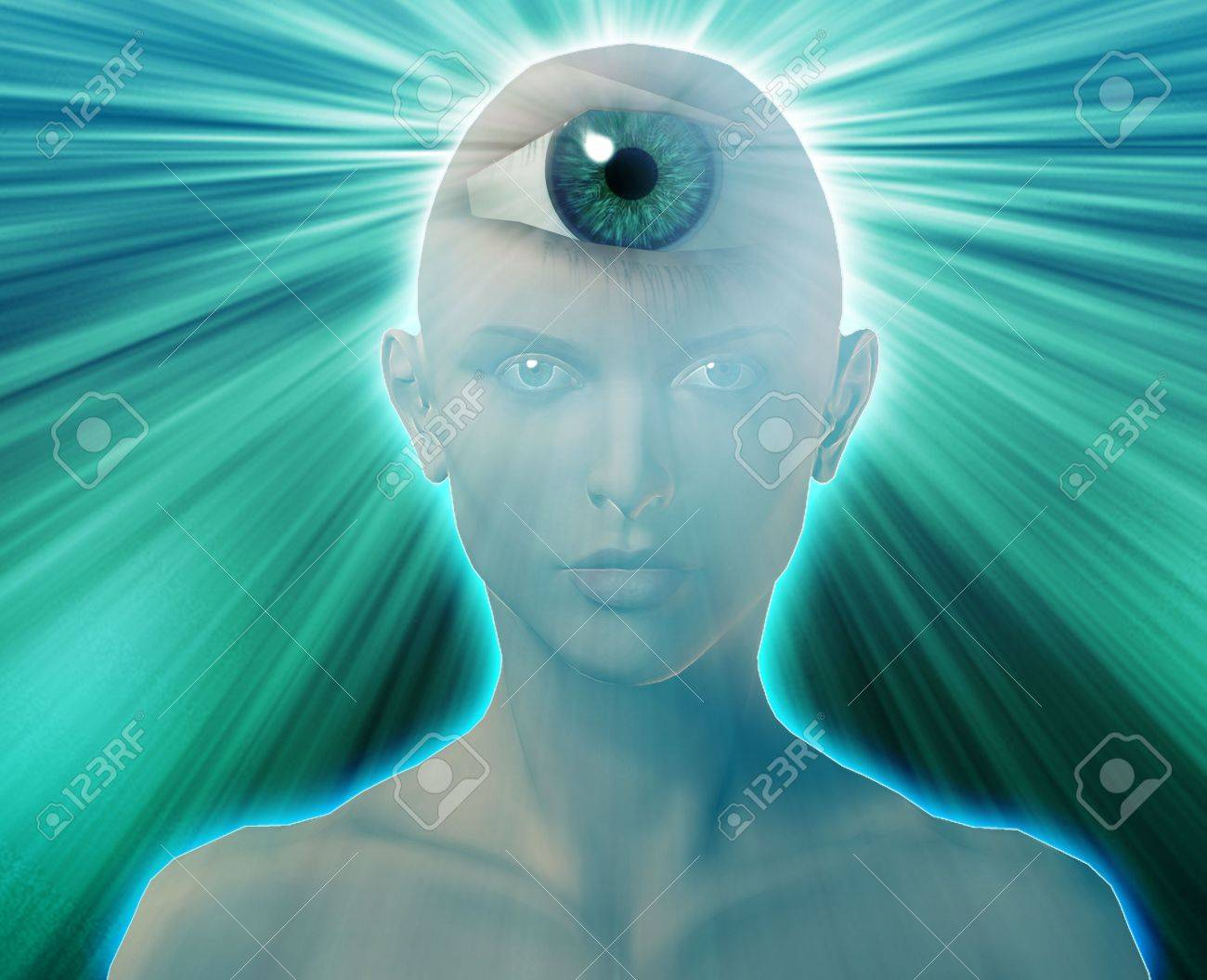 Woman with third eye, psychic supernatural senses Stock Photo - 6474193