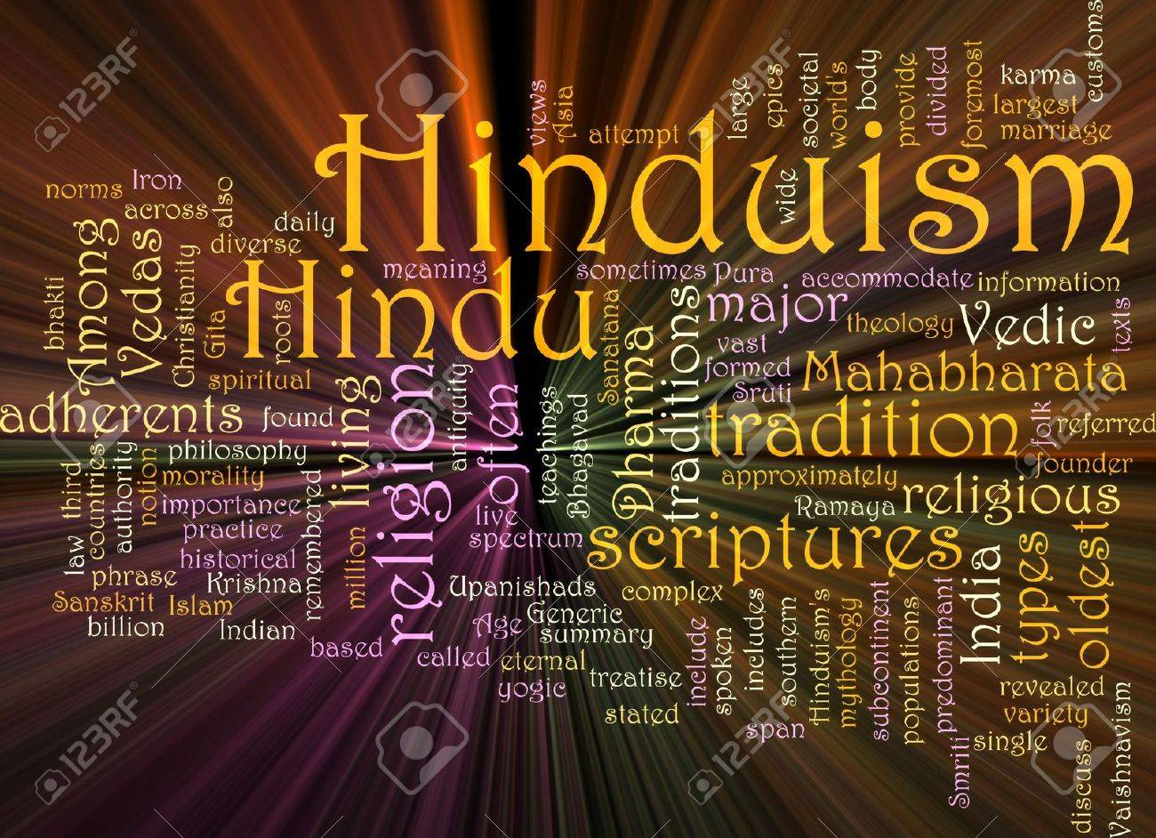 Word cloud concept illustration of  Hinduism religion glowing light effect Stock Photo - 6474183