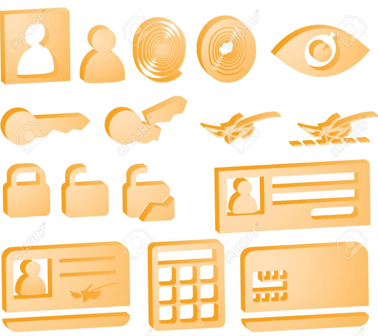 Security icon button illustration set, 3d style look Stock Illustration - 6706142