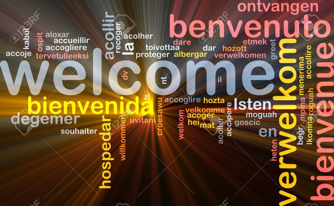 Background concept wordcloud illustration of welcome different languages glowing light Stock Photo - 9298304