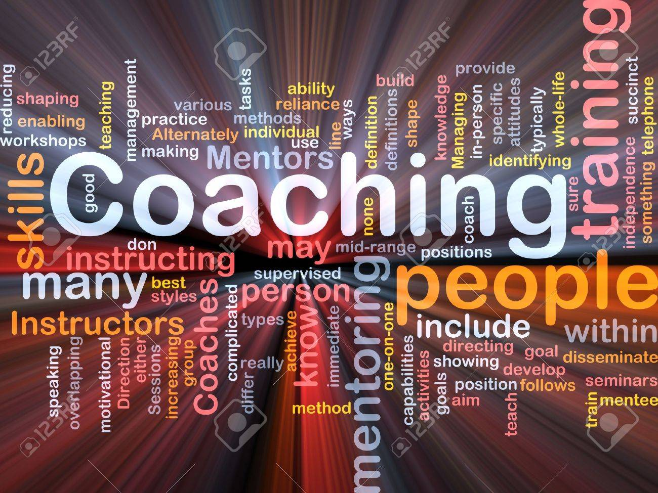 Background concept wordcloud illustration of coaching glowing light Stock Photo - 9416913