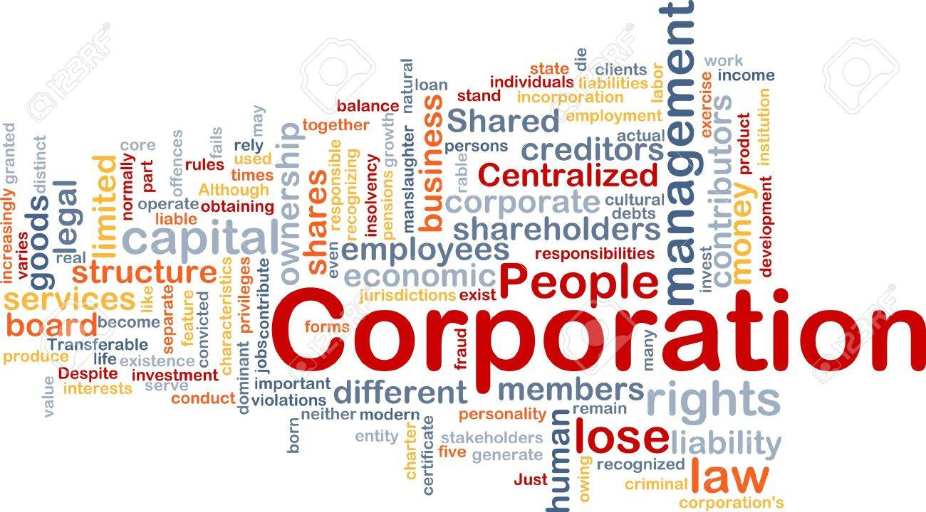 Background concept wordcloud illustration of corporation Stock Illustration - 9432488