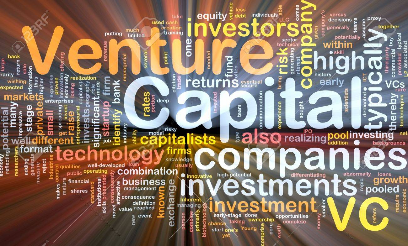 Background concept wordcloud illustration of venture capital glowing light Stock Photo - 9464668