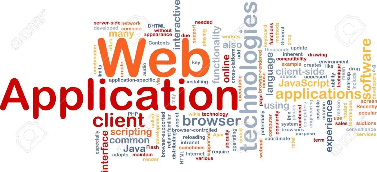Background concept wordcloud illustration of web application Stock Illustration - 9464604