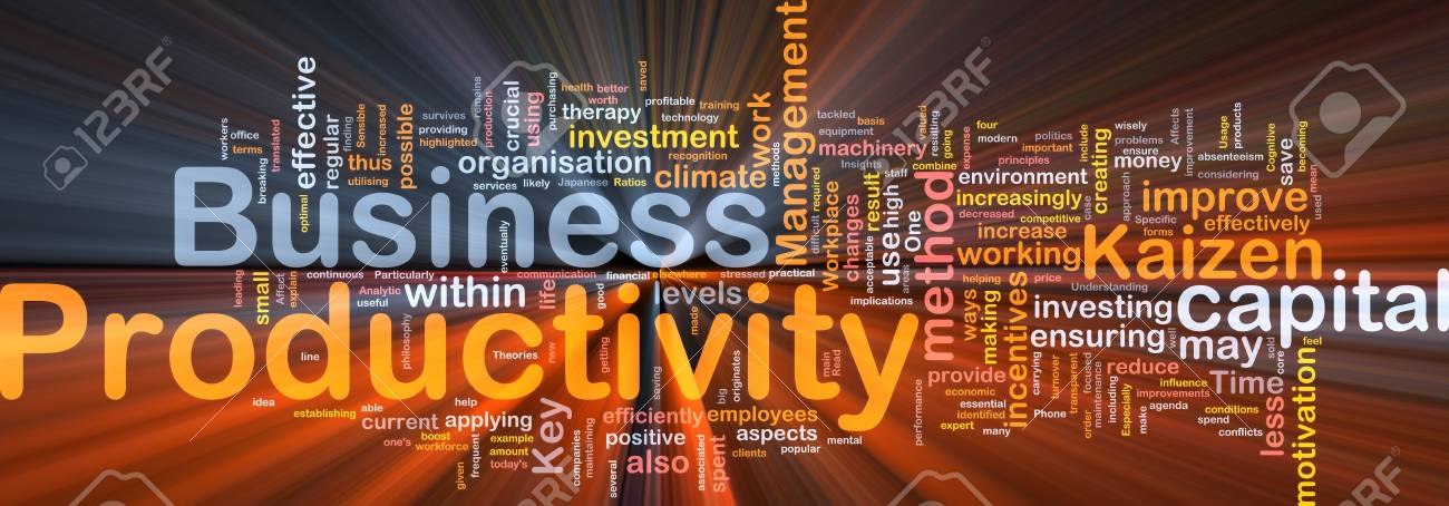 Background concept wordcloud illustration of business productivity glowing light Stock Photo - 9464708