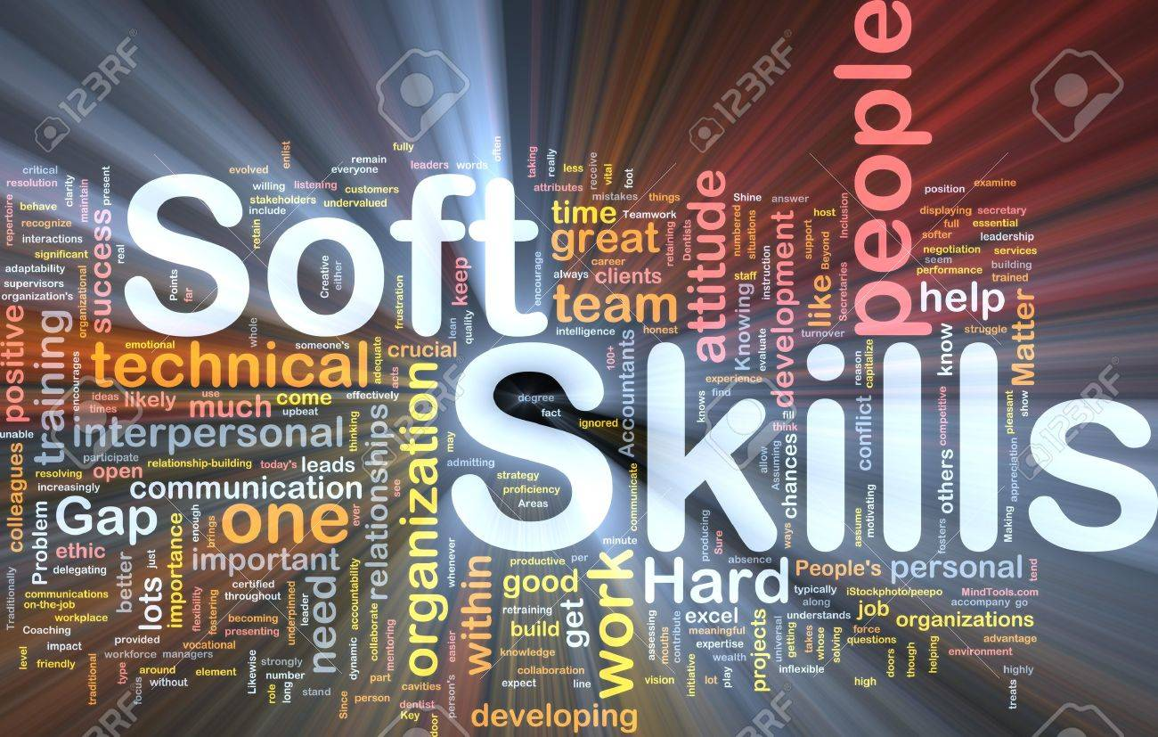 Background concept wordcloud illustration of soft skills glowing light Stock Photo - 9464734