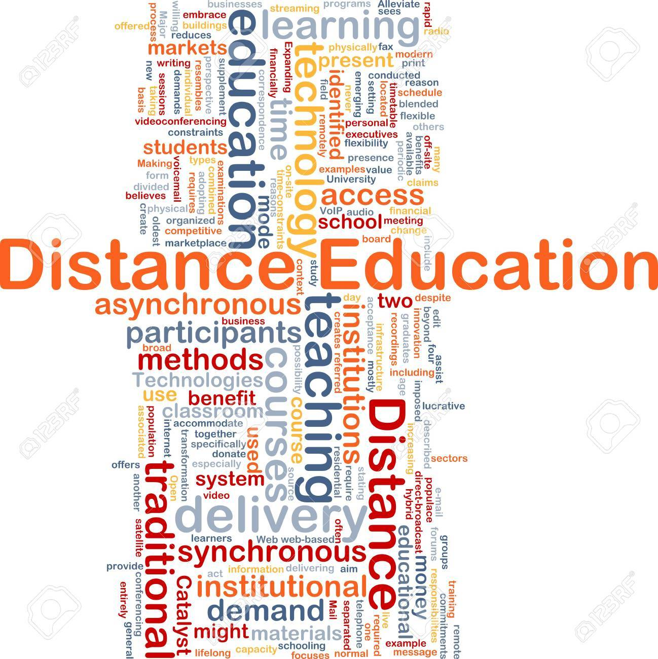 Background concept wordcloud illustration of distance education Stock Illustration - 9503988