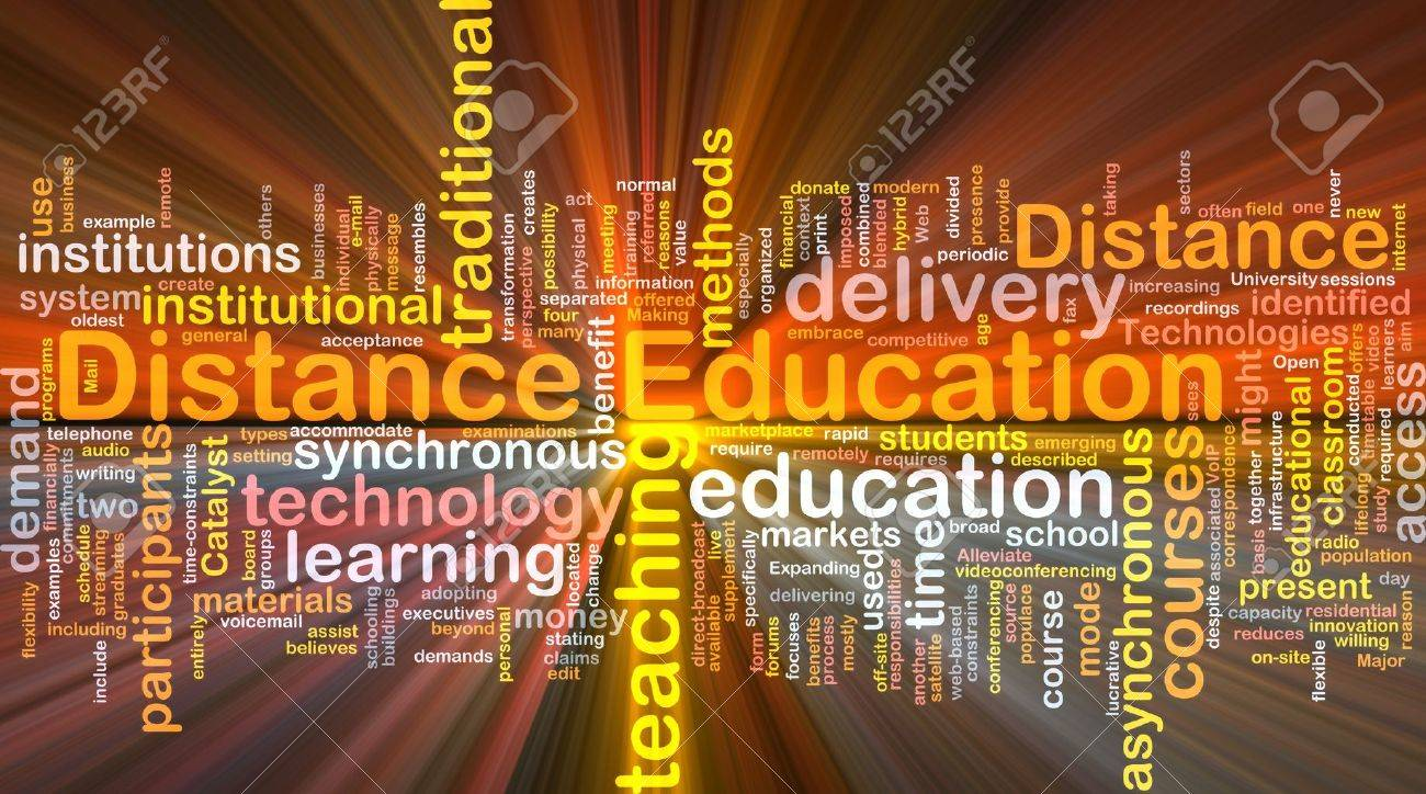 Background concept wordcloud illustration of distance education glowing light Stock Photo - 9504379