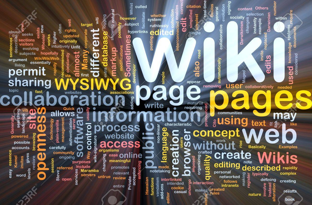 Background concept wordcloud illustration of wiki pages glowing light Stock Photo - 9504381