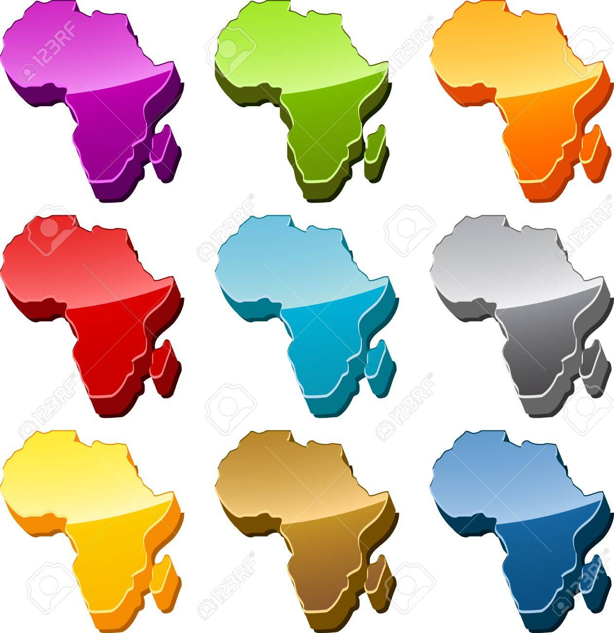 Africa continent map icon button multicolored illustration set Stock Photo - 9550032