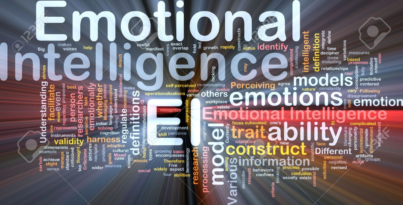 Background concept wordcloud illustration of emotional intelligence glowing light Stock Illustration - 9550069