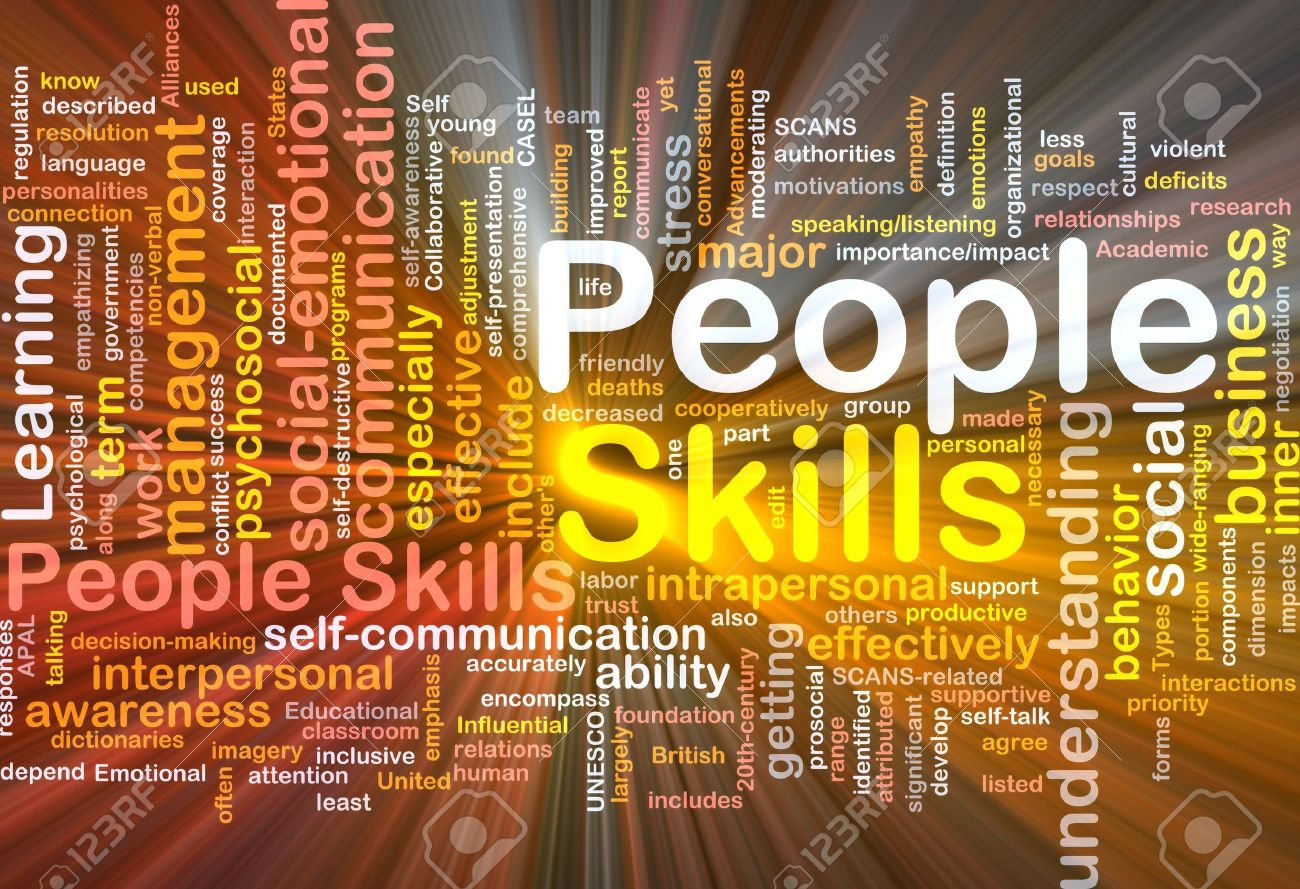 Background concept wordcloud illustration of people skills glowing light - 9550076