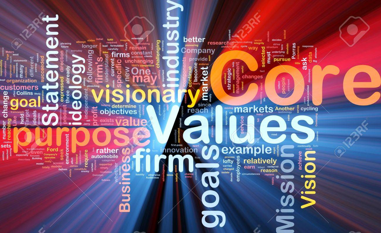 Background concept wordcloud illustration of business core values glowing light Stock Photo - 9914957