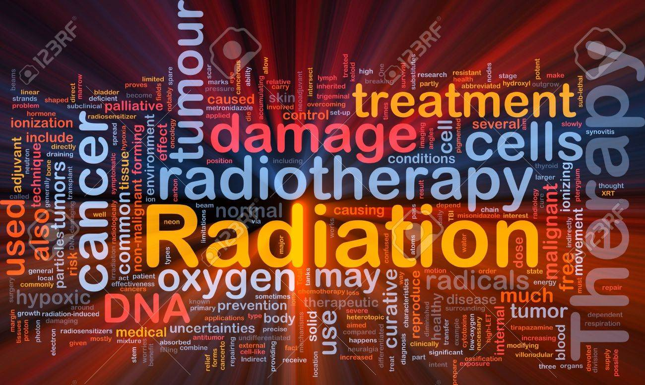 Background concept wordcloud illustration of medical radiation therapy glowing light Stock Illustration - 9915123