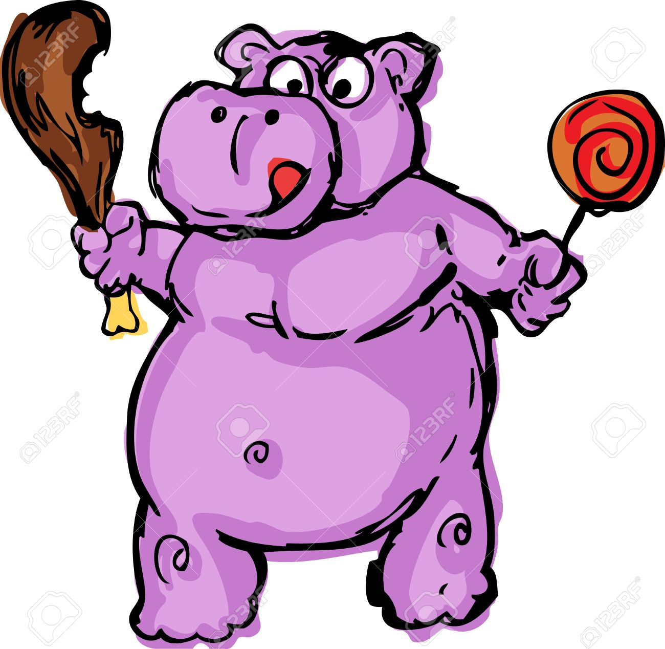 cute fat greedy hippo animal cartoon hand drawn cartoon