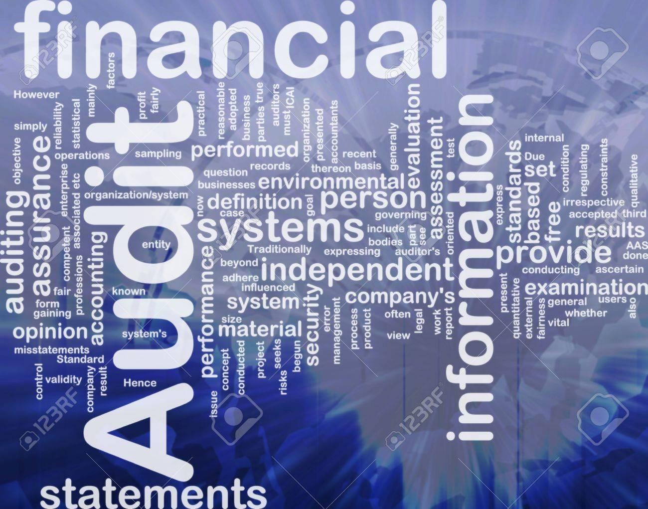 Background concept wordcloud illustration of financial audit international Stock Illustration - 10011913