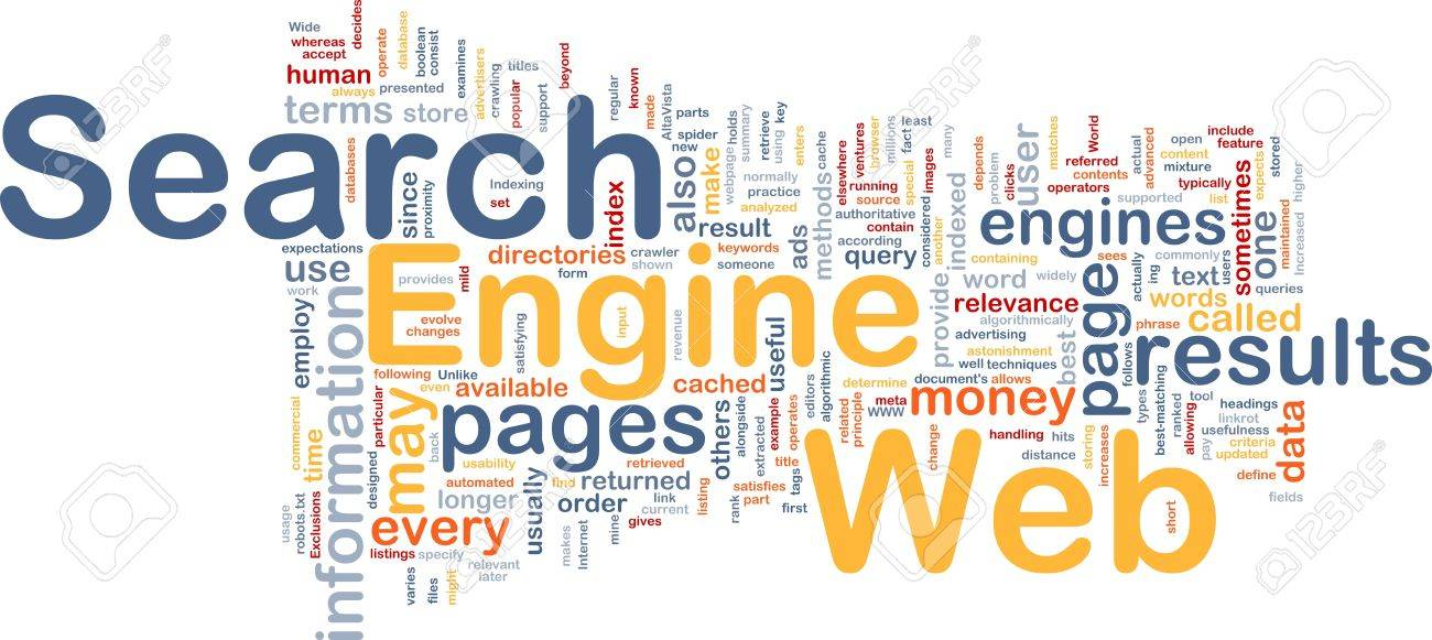 Background concept wordcloud illustration of internet search engine Stock Photo - 10012023