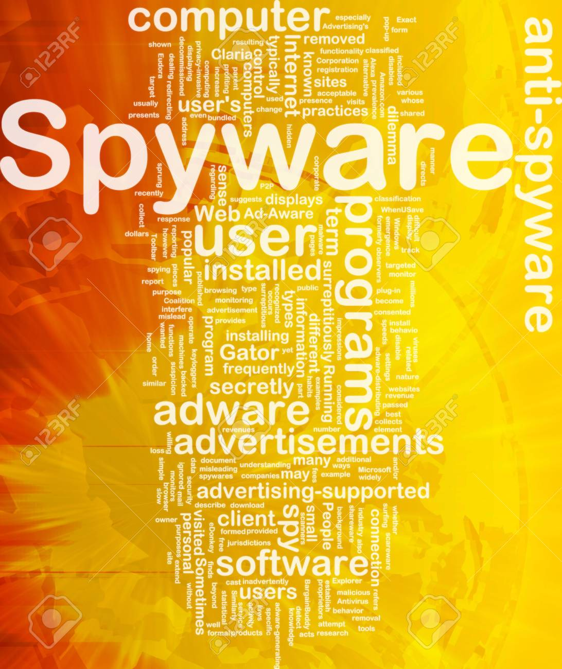 Background concept wordcloud illustration of spyware international Stock Illustration - 10012146