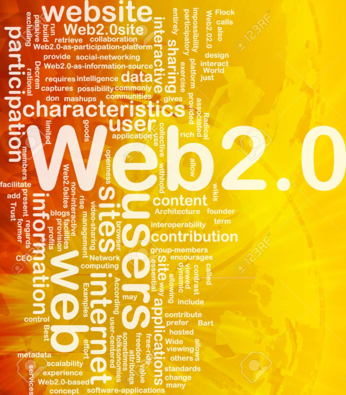 Background concept wordcloud illustration of web 2.0 international Stock Photo - 10012185