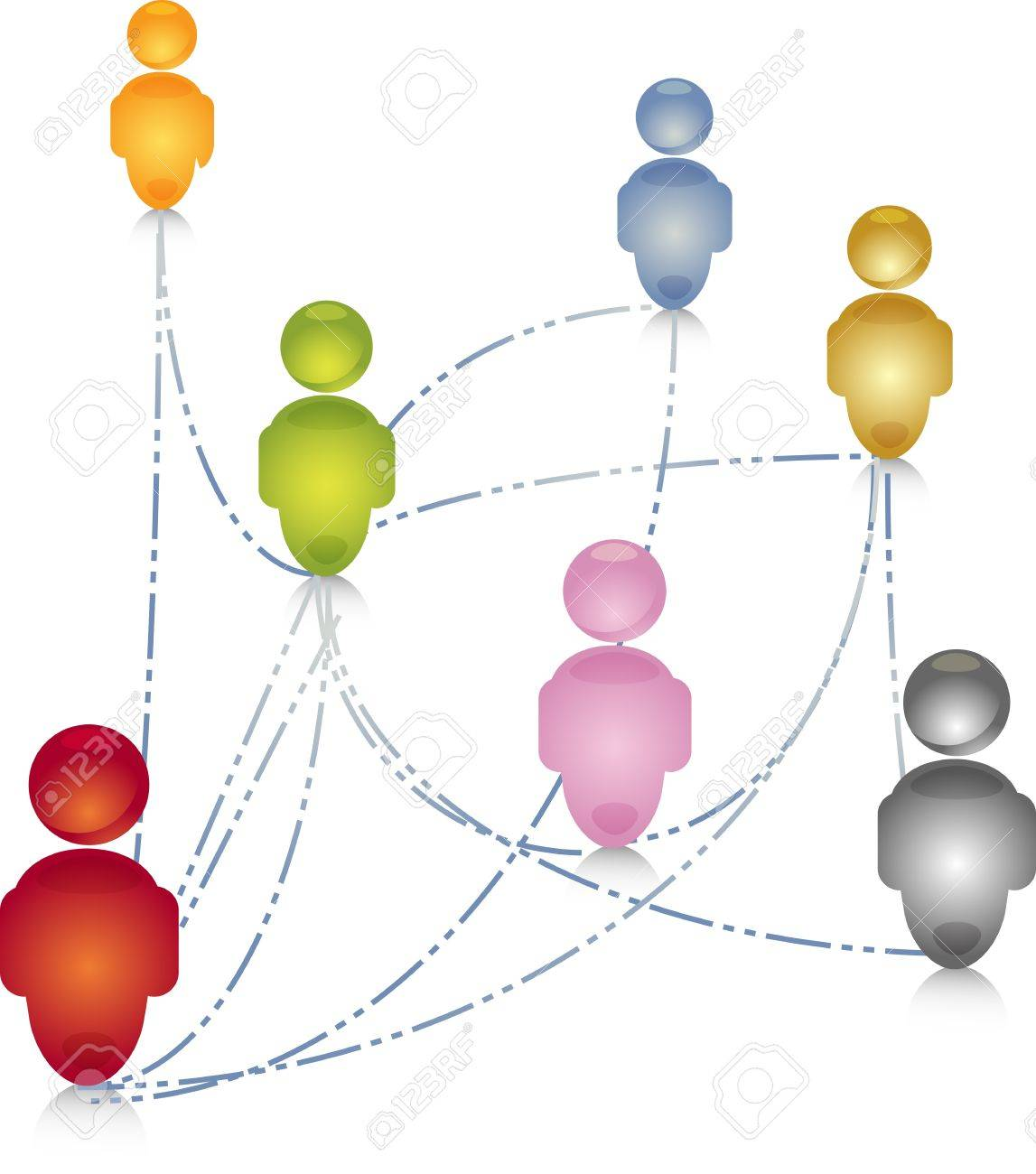 Social network group people community connection links illustration Stock Illustration - 10287590