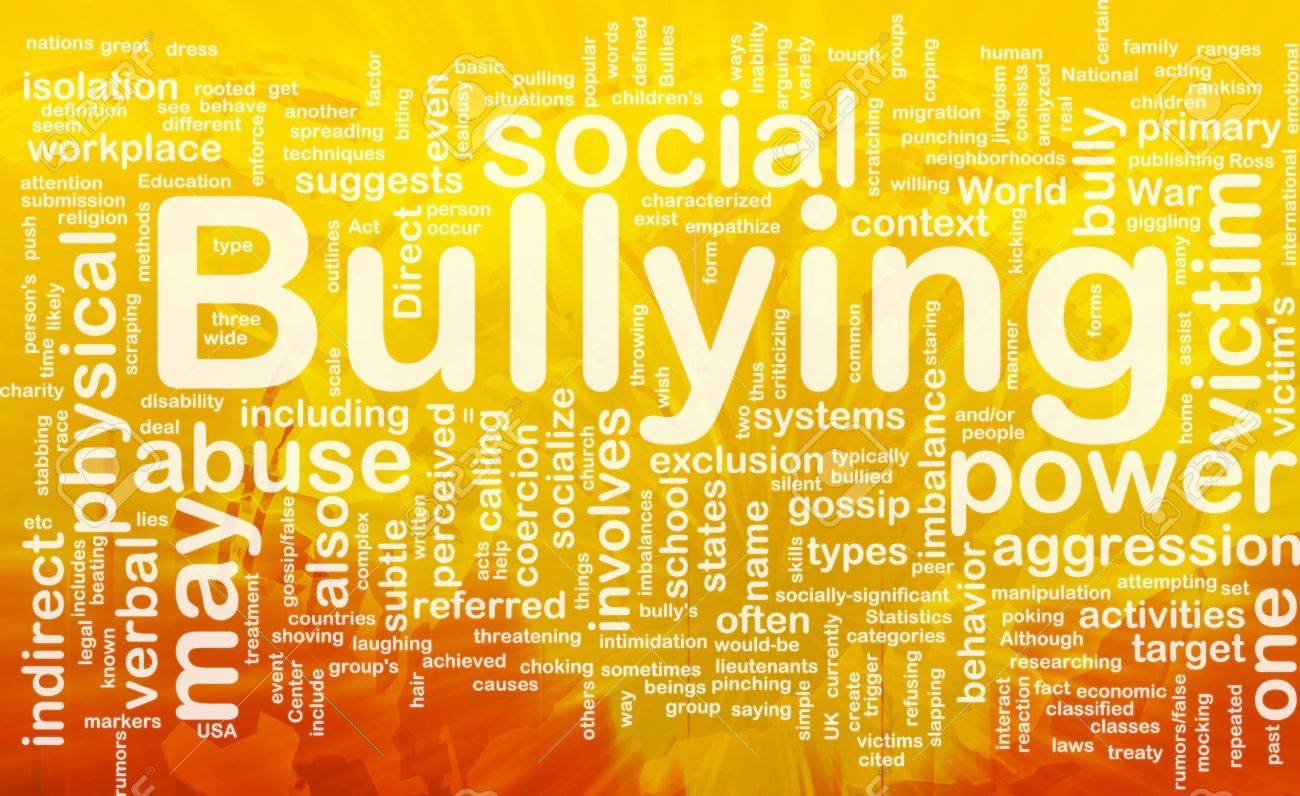 Background concept wordcloud illustration of bullying international - 10287847