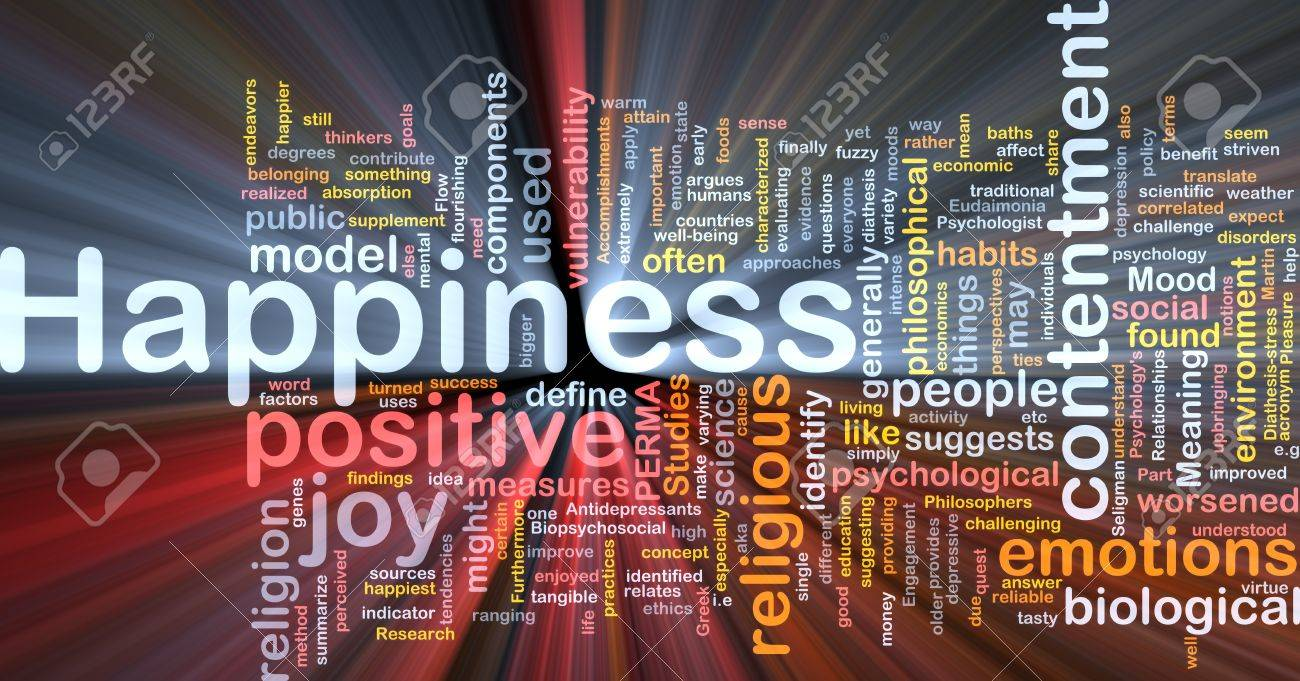 Background concept wordcloud illustration of happiness glowing light - 10287836