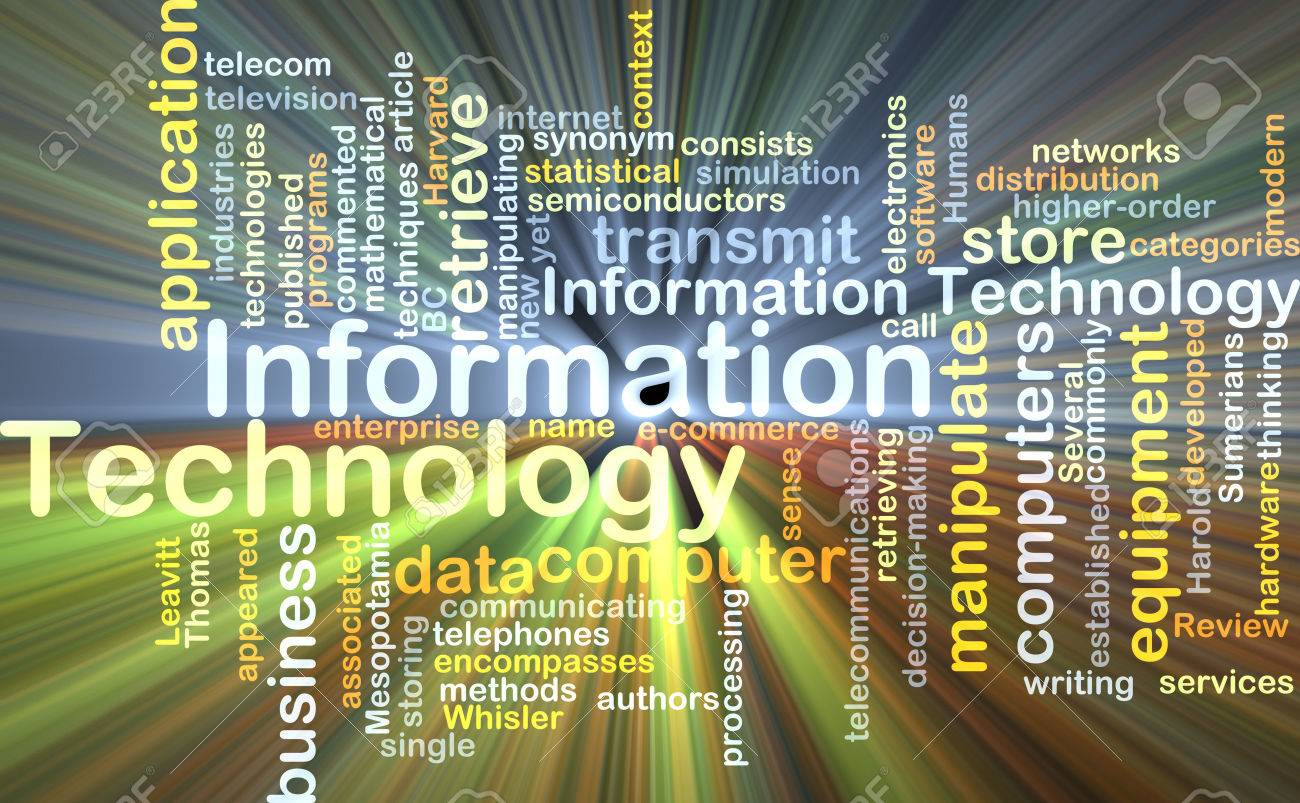 Background concept wordcloud illustration of information technology glowing light - 39337937