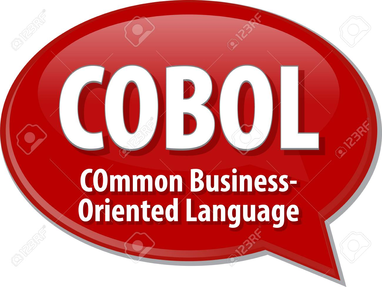 Speech bubble illustration of information technology acronym abbreviation term definition COBOL Common Business Oriented Language - 41851254