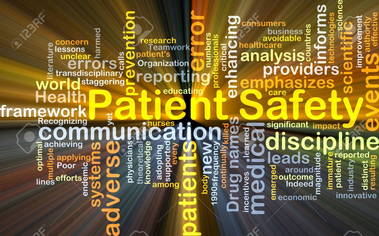 Background concept wordcloud illustration of patient safety glowing light - 42267229