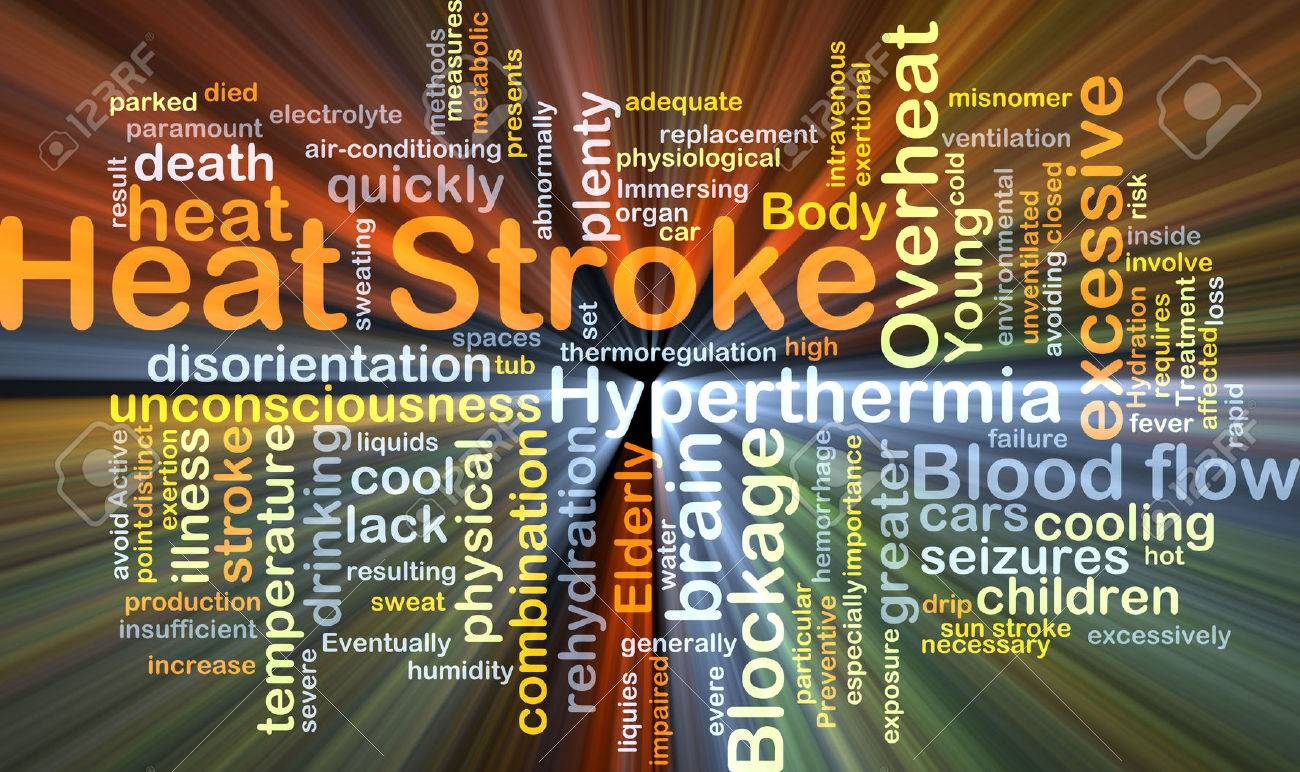 Background concept wordcloud illustration of heat stroke glowing light - 43519401